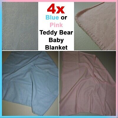Newborn Infant Baby Blanket - Blue or Pink Teddy Bears - Soft Warm Swaddle Wrap