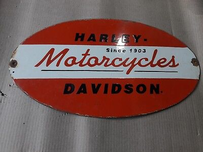 PORCELAIN HARLEY DAVIDSON MOTORCYCLES SIGN 11 X 19.5 INCH Pre-Owned