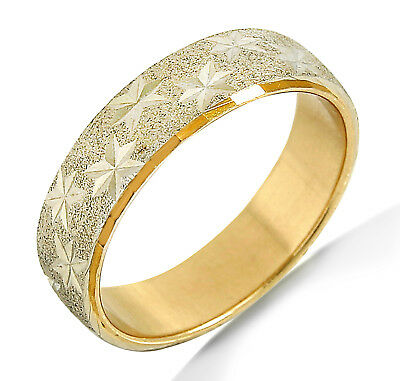 Star Eternity Ring 14k SOLID Yellow Gold & White Gold Comfort Fit Band
