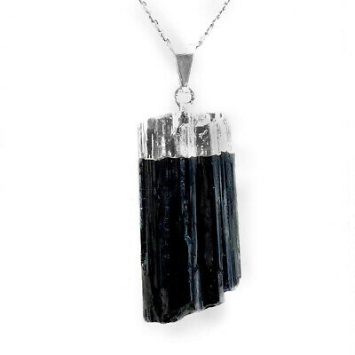 Black Tourmaline Pendant Chakra Natural Crystal Sterling Silver Necklace HANDMAD