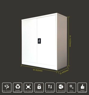1020H 2 Door White Grey Lockable Metal Cabinet Cupboard Files Storage Assembled