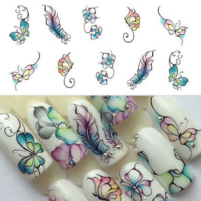 Nail Art Water Decals Sticker Transfers Water Effect Flowers Butterflies Printed