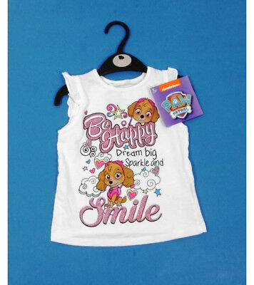 Official 'Paw Patrol' Girls White T Shirt size 2-6 Years FREE SHIPPING
