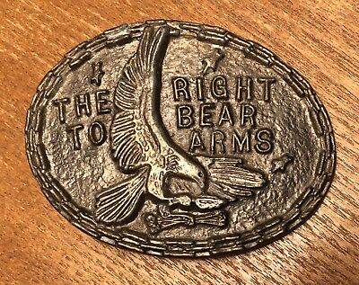 Vintage The Right To Bear Arms Bald Eagle Belt Buckle ~ 2nd Amendment~Guns