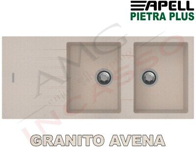 Lavello Fragranite Incasso New Pietra Plus 2 Vasche cm.116X50 Granito Avena