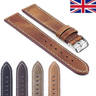 Vintage Style Distressed Matte Leather Mens Watch Band Strap with Stitching