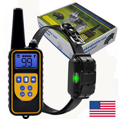 Waterproof LCD Rechargeable Electric Remote Dog Training Shock Collar FREE SHIP