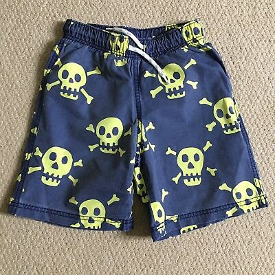 Mini Boden Boys Board Swim Surf Shorts, Age 4-5 Years Blue Skull & Crossbones