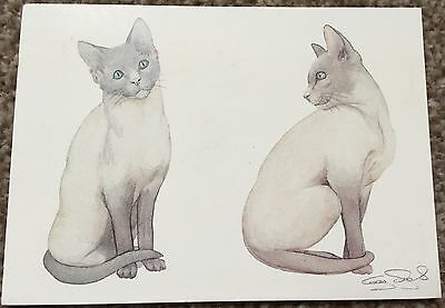 Old Postcard of 2 Siamese Kittens from Water Colour Gay Sagar-Fenton Art Cats