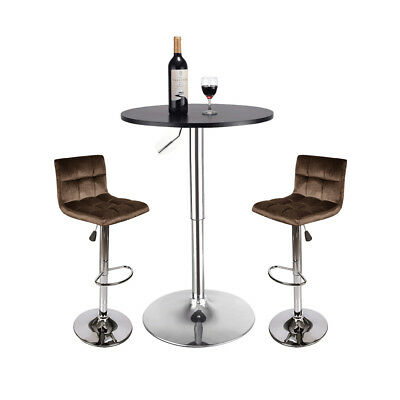 3 Piece Pub Table Set Adjustable Swivel Bar Stool Counter Dining Chairs Kitchen