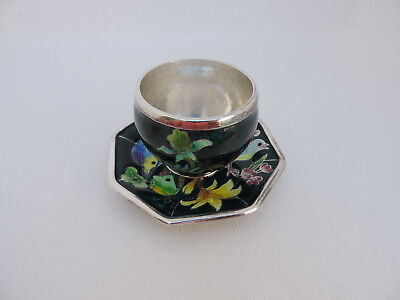 VINTAGE SIGNED KOREAN SOLID STERLING SILVER ENAMEL TEA CUP SAUCER 140 gr 4.9 oz