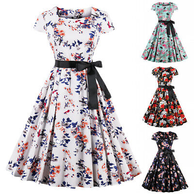 Floral Pleated Dress Women Square Collar Belted Cap Sleeve Summer Party Dress