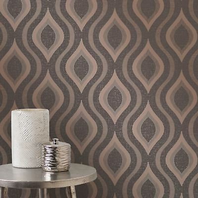 Quartz Geometric Wallpaper Bronze - Fine Decor Fd41982 Glitter Metallic