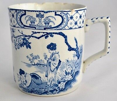 Antique William Adams Blue And White Tokio Large Mug Tankard C1896-1914 Tokyo Adams Pottery