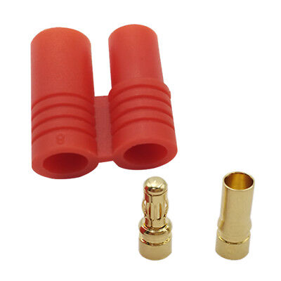3.5mm Gold Bullet Banana Connector Plug W/Protective Sleeve Male Female For Rc