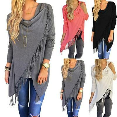 Womens Knitted Long Sleeve Jumper Sweater Cardigan Ladies Fringe Shawl Tops Coat