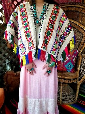 VTG 70s VINTAGE HIPPIE BOHO RAINBOW WOVEN EMBROIDERED HUIPIL PONCHO TOP
