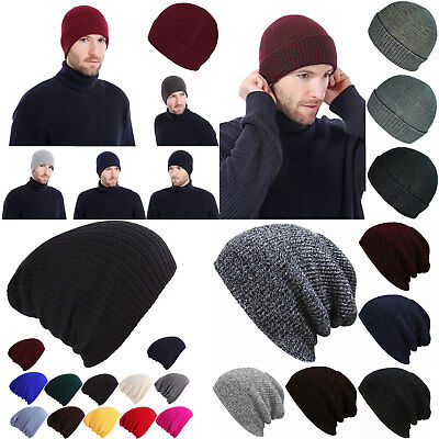 Beanie Hat Mens Women Knitted Cotton Winter Oversized Slouch Wool Hats Baggy Cap