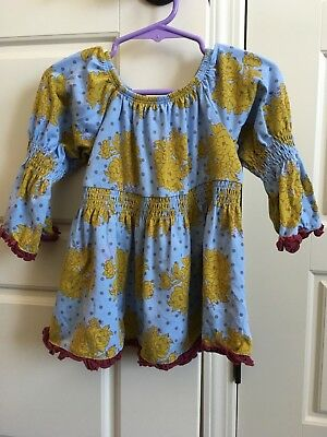 Matilda Jane Peasant top Character Counts Amelie 2y blue/lime maroon Duchess