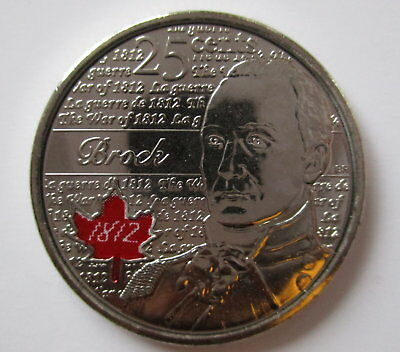 2012 Canada 25¢ Sir Isaac Brock Coloured Brilliant Uncirculated Quarter Coin