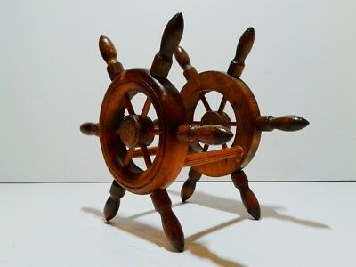 Vintage Maritime wooden napkin holder made of steering wheels