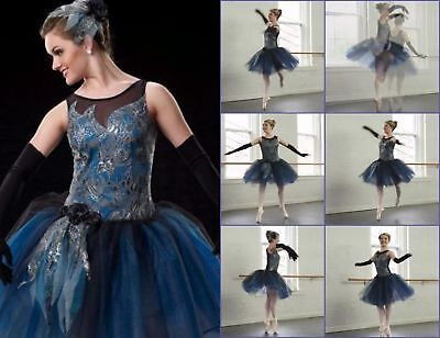 Rhapsody In Blue Dance Costume Romantic Ballet Tutu with Gloves Adult 18 = AXL