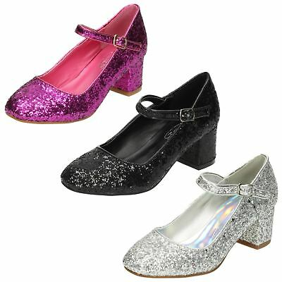 'Girls Spot On' Heeled Sparkly Dolly Shoes - H3R057