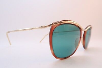 Vintage 50s gold filled sunglasses AMOR original blue glass lens France *****
