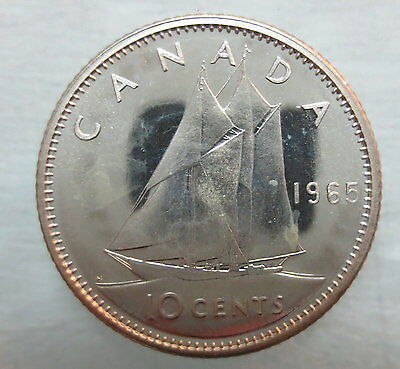 1965 Canada 10 Cents Proof-Like Silver Dime Coin