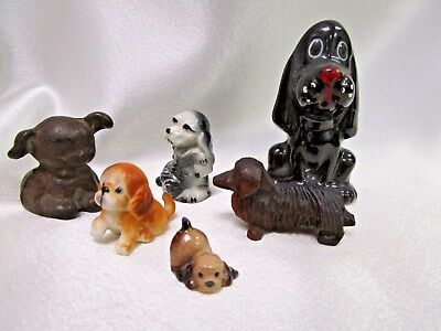 Vintage Dogs & Puppy Figurines 6pc China, Wood, Metal