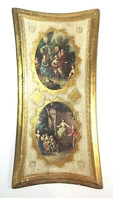 """Vintage Italian Florentine Toleware Wood Wall Plaque 15"""" Gilded Gold Empire Art"""
