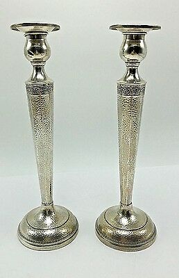 "Pair Sterling Silver Candlesticks Candle Holder Hammered 9.5"" Tall Webster Co"