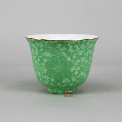 Green Chinese Jingdezhen Hand Painted Pa Hua Famille-rose Porcelain Tea Cup 50cc