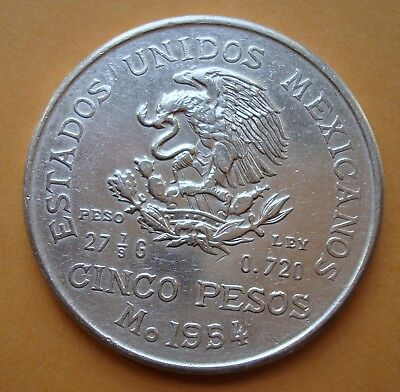 MEXICO Rare - KEY date 1954 silver 5 Pesos please see the coin