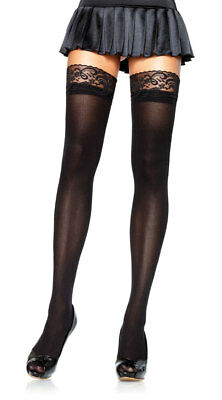 One Size Fits Most Womens Opaque Thigh Highs With Lace Top, Lace Top Thigh High
