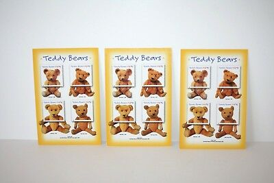 USPS Teddy Bear Postcards Issued for 100th Anniversary of Teddy Bears 2002 3pk