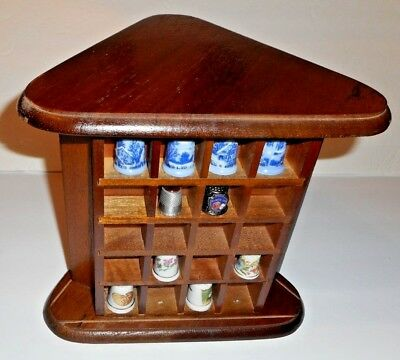 Wood Thimble Display Holder Holds 60 thimbles Sliding Acrylic Door Cover JAPAN