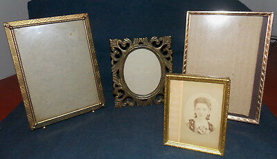 "4 Vintage Unique Brass/metal 5"" X 7""-4"" X 3 1/2"" Picture Frames & Antique Photo!"