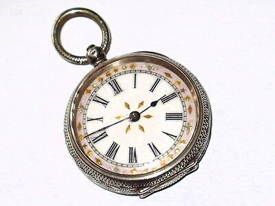 Beautiful Antique Swiss Sterling Silver 935 Pocket Watch, Needs Attention