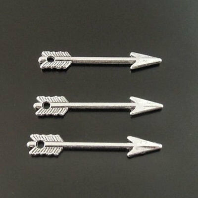 10 Arrow Charms Antique Silver Two Sided with Hole for Jump Rings - SC1539