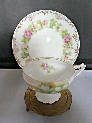 Antique Rosenthal Bavaria cup & saucer-pink,gold and green floral circa 1900