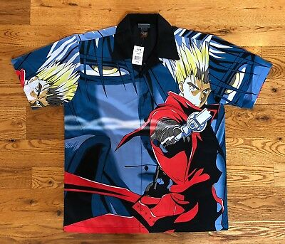 TRIGUN VASH THE STAMPEDE Button Down Collar Shirt - Size Large NWT