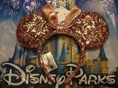 NEW Disney Parks ROSE GOLD Minnie Mouse Ears Authentic Disneyland