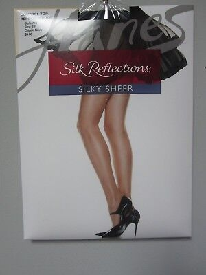 f8c2fb49504 Hanes 718 Silk Reflections Control Top Reinforced Toe Classic Navy Pantyhose  EF