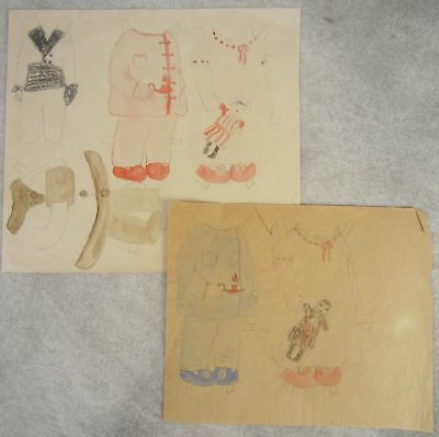 Folk Art Child's hand drawn paper doll OF vintage 1920s watercolor & graphite