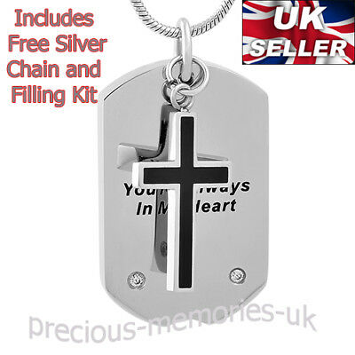 Cross Memorial Ashes Necklace - Ash Urn Pendant - Funeral Cremation Jewellery