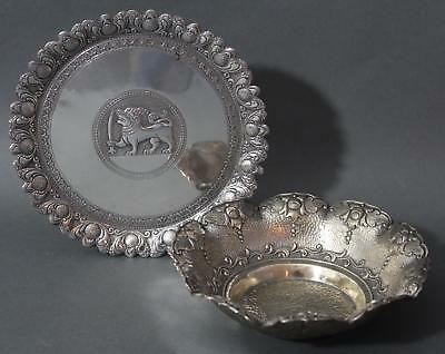 Authentic Hand Hammered Sri Lanka .900 Solid Silver Bowl & Plate, NR