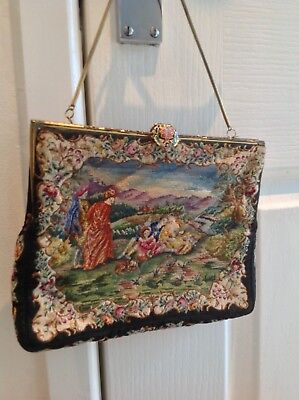 Vintage/antique tapestry petit point embroidered evening coctail bag