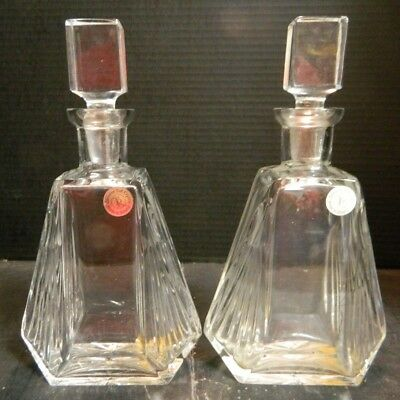 "Vintage Pair of TR Genuine Polish Cut Crystal Decanters 10.25"" x 5.25""x2.63"" Exc"