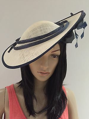 NIGEL RAYMENT IVORY NAVY WEDDING ASCOT Hat Disc Occasion Mother The Bride Hat